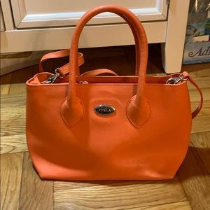 Furla Small orange leather purse crossbody